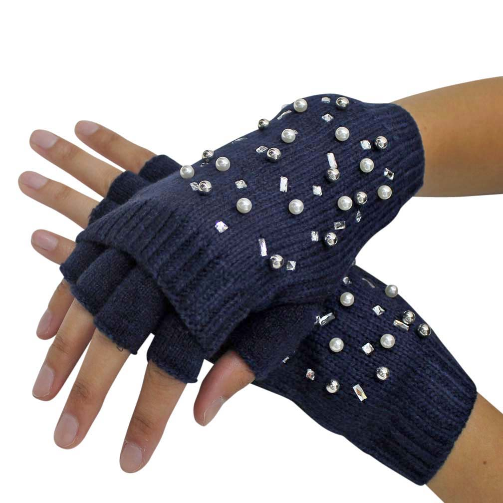 Rhinestones & Pearl Knit Fingerless Arm Warmers & Gloves