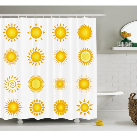 Yellow And White Shower Curtain Various Different Sun Icons Summer Hot Warm Weather Morning Daytime