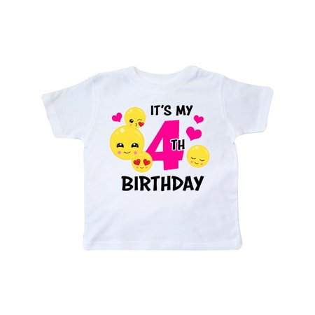 Its My 4th Birthday with Emojis Toddler - Birthday Emojis