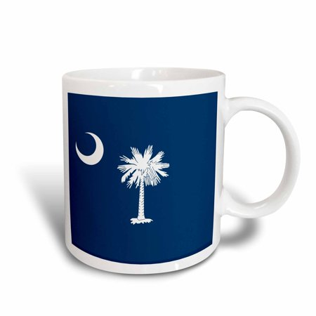 3dRose Flag of South Carolina SC - US American United State of America USA White palmetto tree indigo blue, Ceramic Mug, (Indigo Blue Ceramic Mug)