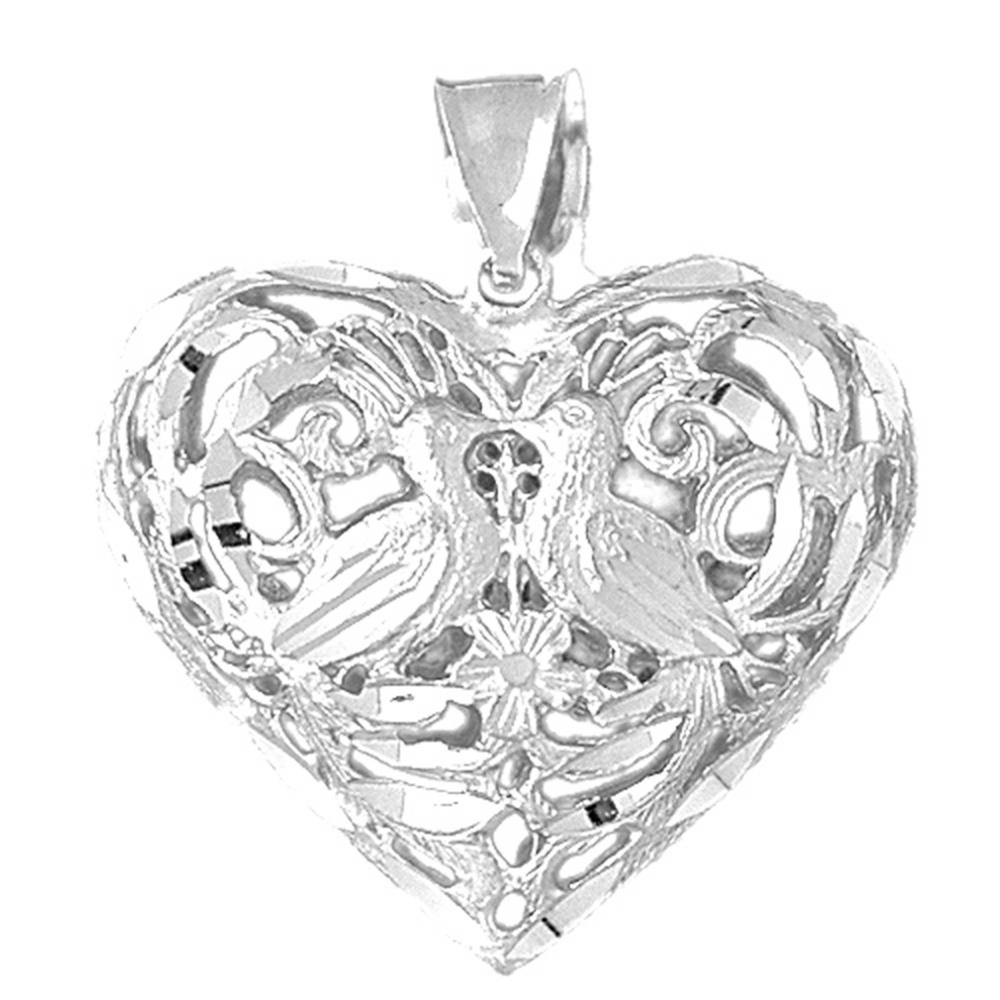 18K White Gold 3D Filigree Heart Pendant - 38 mm