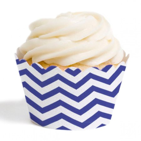 Dress My Cupcake Standard Cupcake Wrappers, Chevron, Royal Blue, Set of 12
