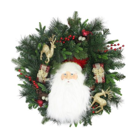 24 pre lit battery operated musical santa artificial christmas wreath warm clear led - Pre Lit Battery Operated Christmas Wreath