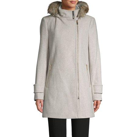 Faux Fur Hooded Wool-Blend Coat Nike Wool Jacket
