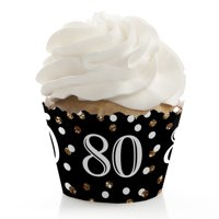 Adult 80th Birthday - Gold - Birthday Party Cupcake Wrappers - Set of 12