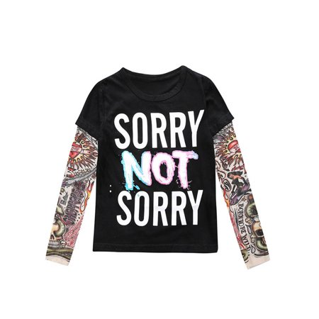 StylesILove Super Cool Unisex Kid Cotton T-shirt withk Mesh Tattoo Sleeve (130/6, Sorry Not Sorry)