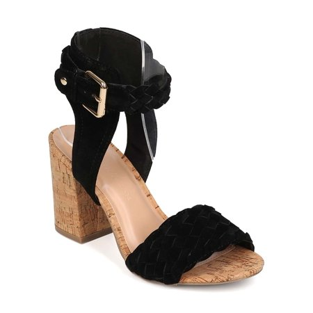 New Women Wild Diva Susie-22 Suede Open Toe Woven Cork Block Heel Sandal -