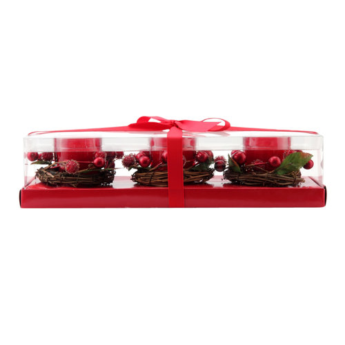 Better Homes and Gardens Berry Ring Glass Votive Set, Red, 3pc