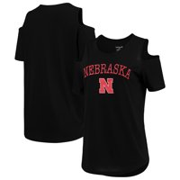 Nebraska Cornhuskers Women's Plus Size Cold Shoulder T-Shirt - Black