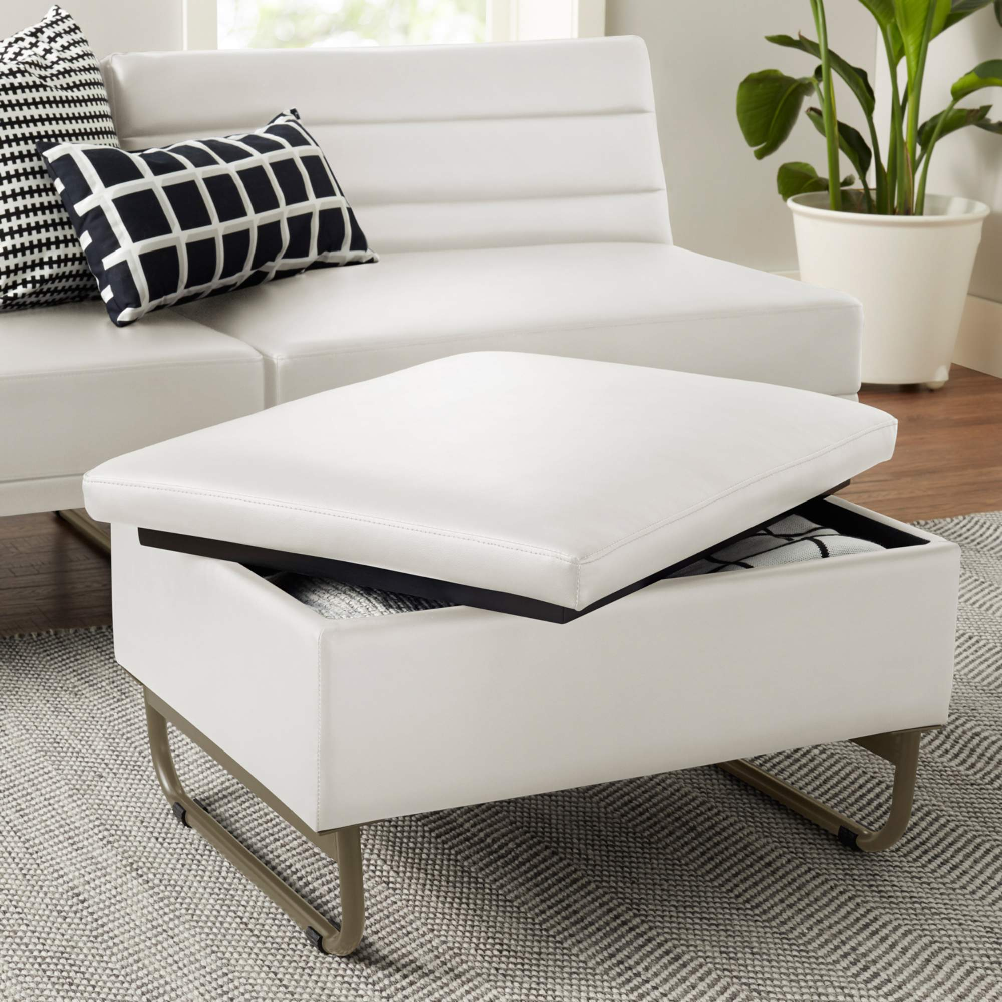 Mainstays Loop Storage Ottoman (White)