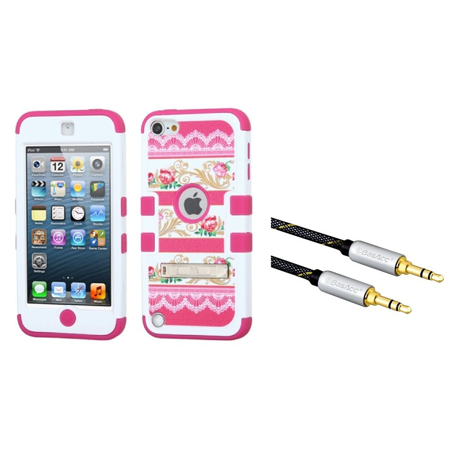 Insten FlowerBaroque art/Hot Pink TUFF Hybrid Case (with Stand) For iPod Touch 6 6th 5 5th (+ 3.5mm Aux Audio Cable) (2-in-1 Accessory Bundle)