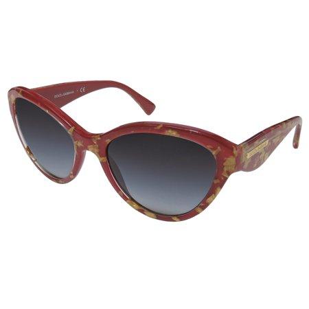 New Dolce Gabbana 4199 Womens/Ladies Cat Eye Full-Rim Gradient Burgundy / Gold Stunning Color Combination Stylish Hot Cat Eye Frame Gradient Gray Lenses 55-18-135 Sunglasses/Sun (Dolce And Gabbana Glasses Womens)