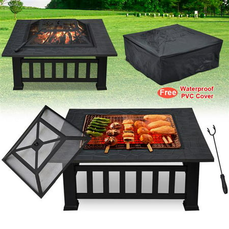 32'' Outdoor Square Fire Pit Metal Garden Stove Brazier For Barbecue, Heating, Cooling Drinks w/Cover & Poker Black ()