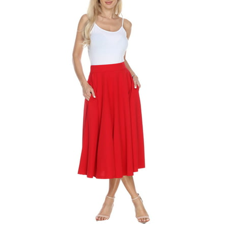 high fashion purchase original limited guantity White Mark - Women's Flared Midi Skirt - Walmart.com