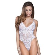 iCollection Women's Stretch Lace and Mesh Teddy - 8520