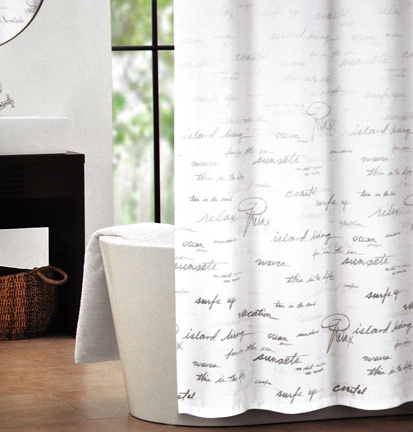 Tahari Fabric Shower Curtain Gray Words Writing On White Shower Script,  French Style Script,