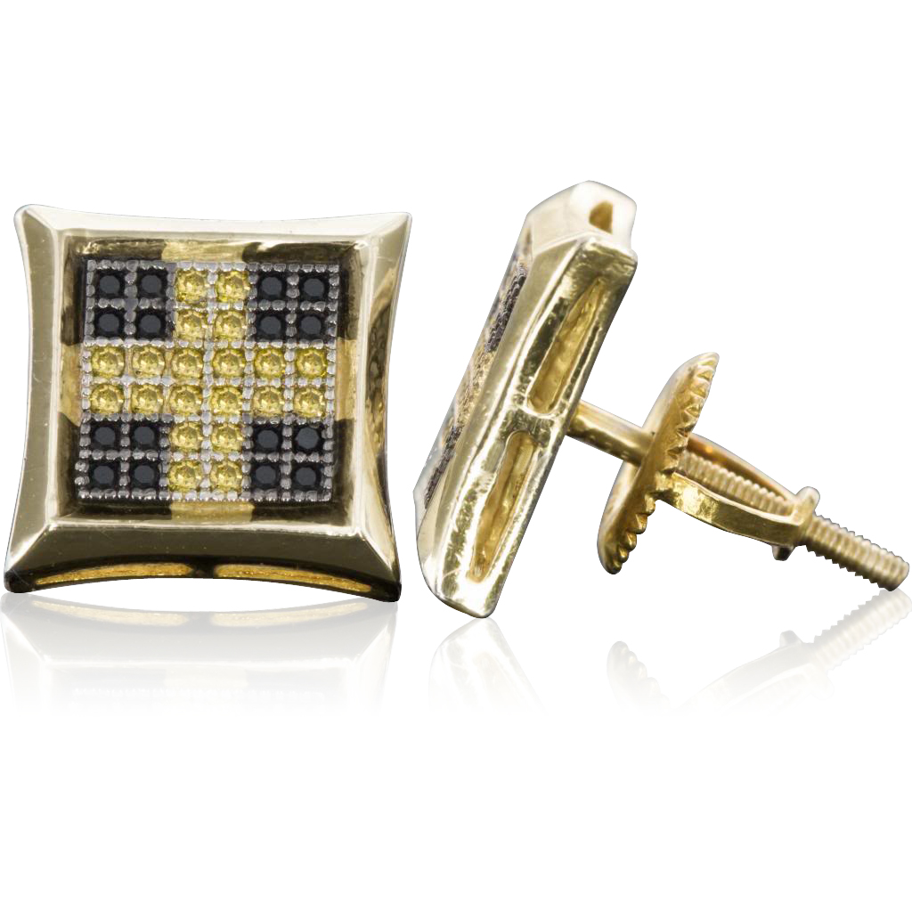 Sterling Silver 10 MM Cross Black and Yellow Micro Pave Diamond Stud Earrings (0.28 cttw, H-I color, I1-I2 Clarity)