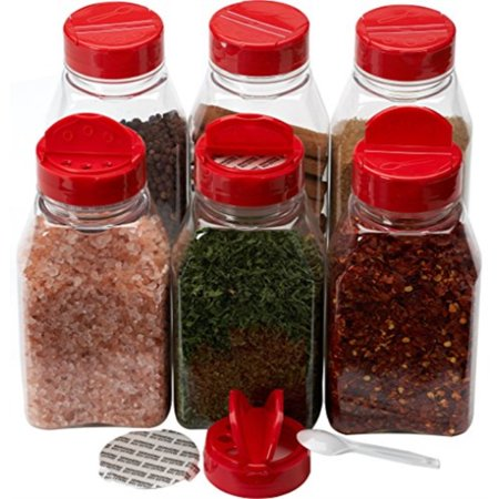 Spice Jars - 16 oz. clear plastic pet spice jars storage container bottle with red two sided flip tops shaking sifter spoon caps - 6 sets - plus 2 mini spoons and 6 White indicating space labels