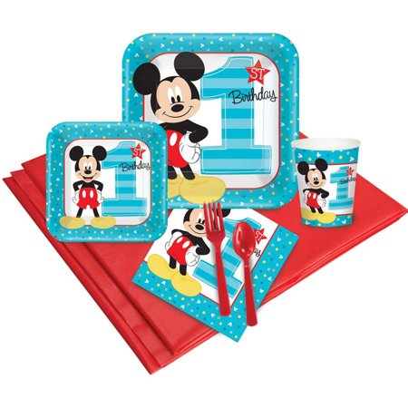 Disney Mickey Mouse 1st Birthday 16-Guest Party Pack](Mickey Mouse Halloween Party Birthday Invitations First)