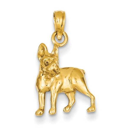 14k Yellow Gold Pit Bull Dog Charm Pendant 20mmx13mm