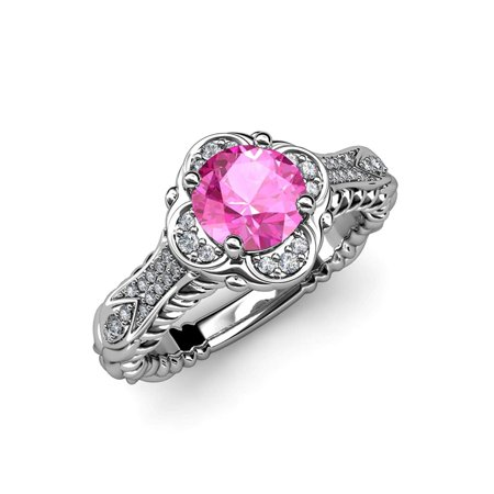 Pink Sapphire and Diamond Floral Halo Engagement Ring 1.20 ct tw in 14K White Gold