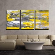 """wall26 - 3 Piece Canvas Wall Art - Grey and Yellow Abstract Art Painting - Modern Home Decor Stretched and Framed Ready to Hang - 24""""x36""""x3 Panels"""