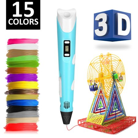 3D Pen w/ 15 Different Color PLA Filament (150 Feet) - FREE Stand - Perfect for Kids & Adults - Best 3D Printing Pen Starter Kit - Easy Loading - LCD Screen - Heats (Best Kites For Adults)