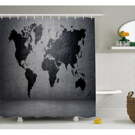 Dark Grey Shower Curtain Black Colored World Map On Concrete Wall Image Urban Structure Grungy