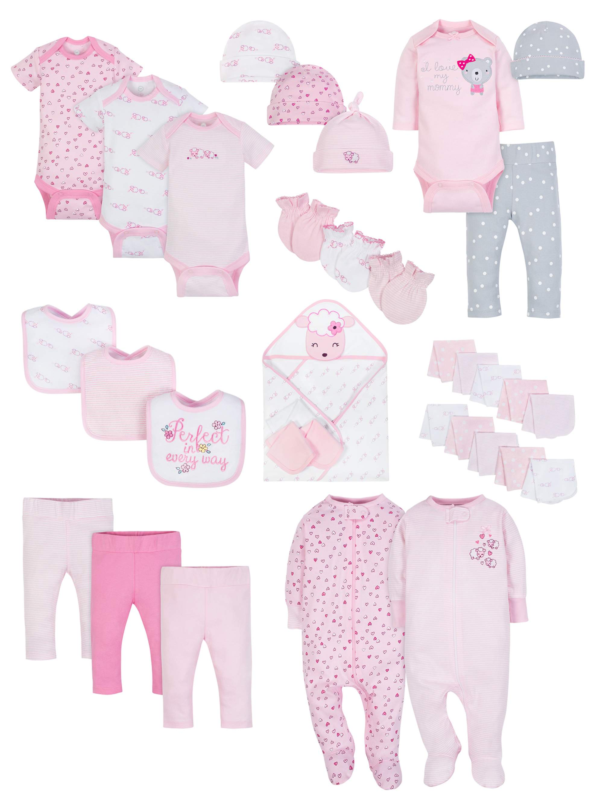 Baby Shower Layette Gift Set, 34pc (Baby Girl)