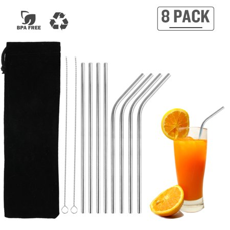 8Pcs Stainless Steel Straws Reusable Straws Set Matte Drinking Straws FDA-Approved BPA Free Cleaning Brush Portable Bag for All Sizes Tumblers Cold Beverage Family Party Bar ()