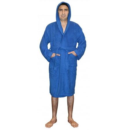 (Skylinewears Mens 100% Terry Cotton Toweling Bathrobe Dressing Robe Hooded Blue Small)