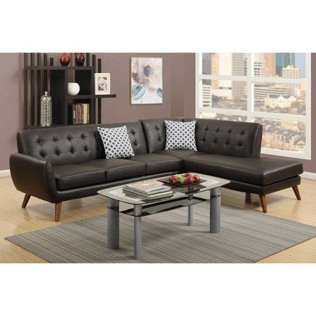2 pcs espresso bonded leather sectional sofa with chaise for Bonded leather sectional sofa with chaise