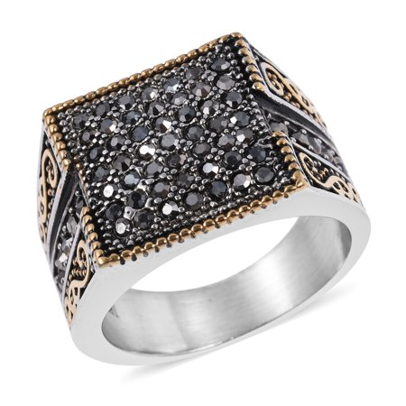 Round Grey Black Oxidized Crystal Mens Statement Ring Jewelry Size 11 Cttw 1.6 ()