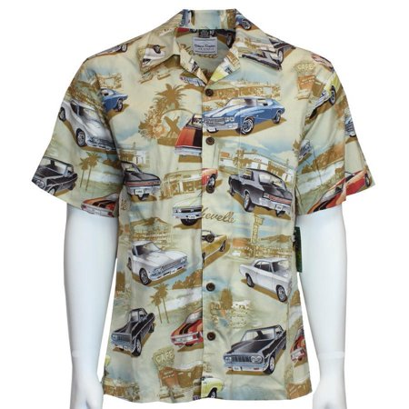 David Carey Vintage Chevy Chevelles Printed On Hawaiian Camp Shirt Button