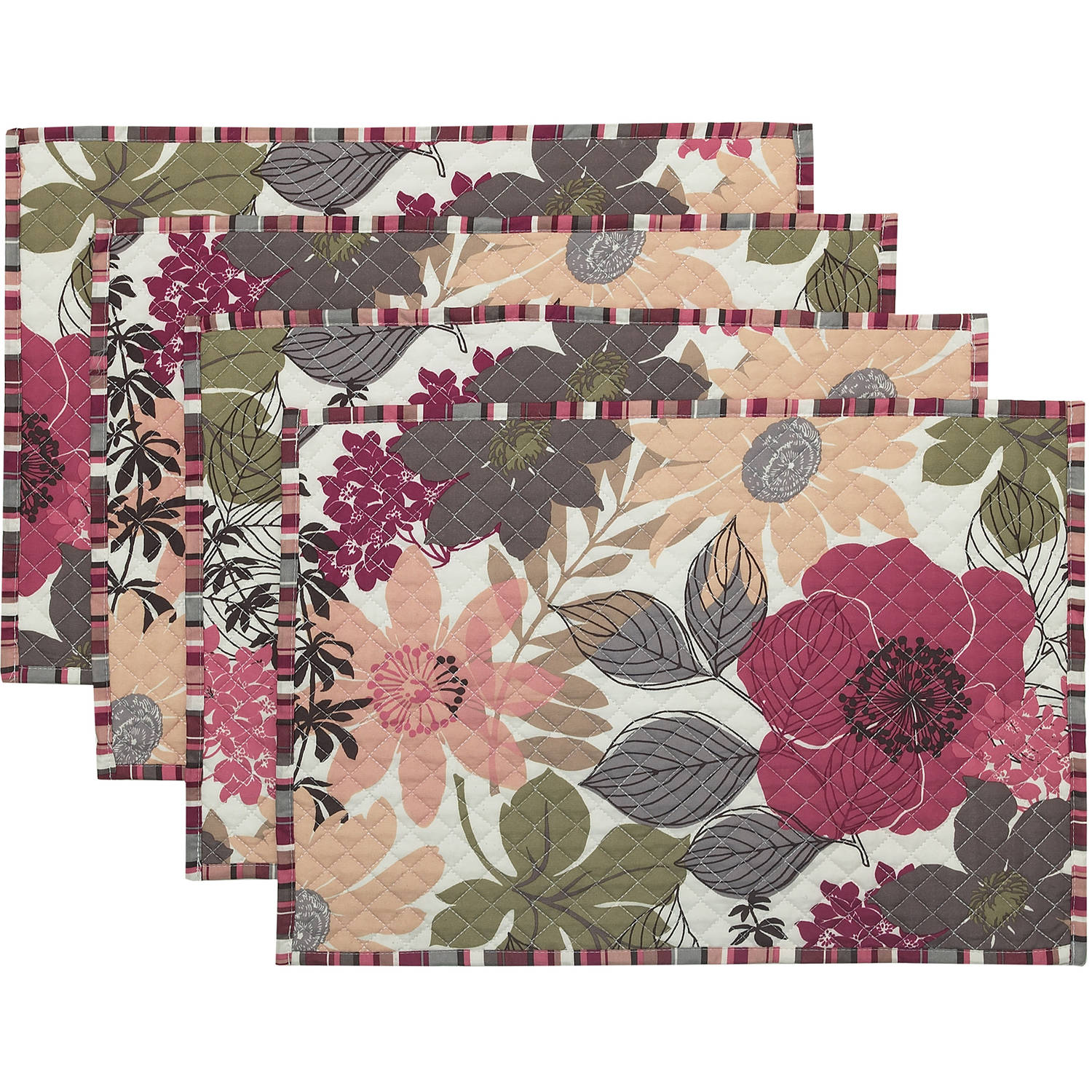 Better Homes and Gardens Quilt Floral Placemat, Set of 4