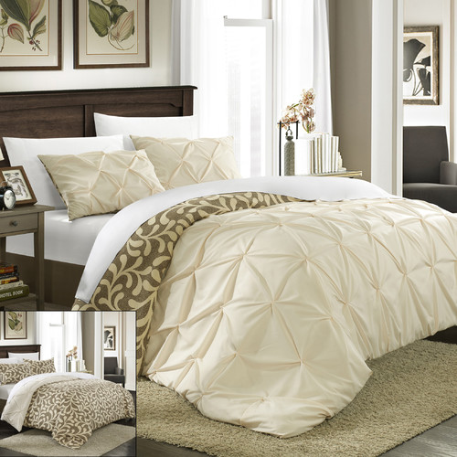 Chic Home Talia Pleated Pintuck Reversible Duvet Set