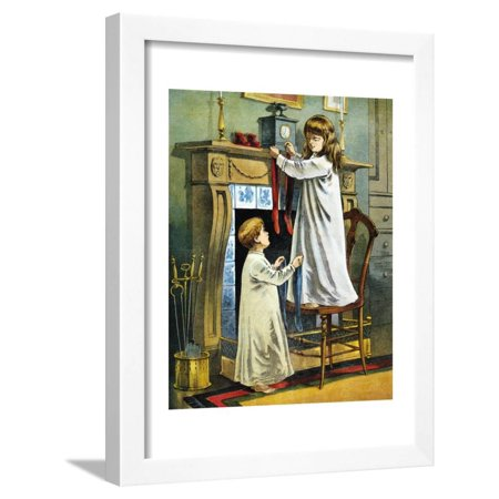Boy and Girl Place Stockings on their Fireplace Mantle on Christmas Eve, 1918 Framed Print Wall Art](Fireplace Mantels Decorated Halloween)