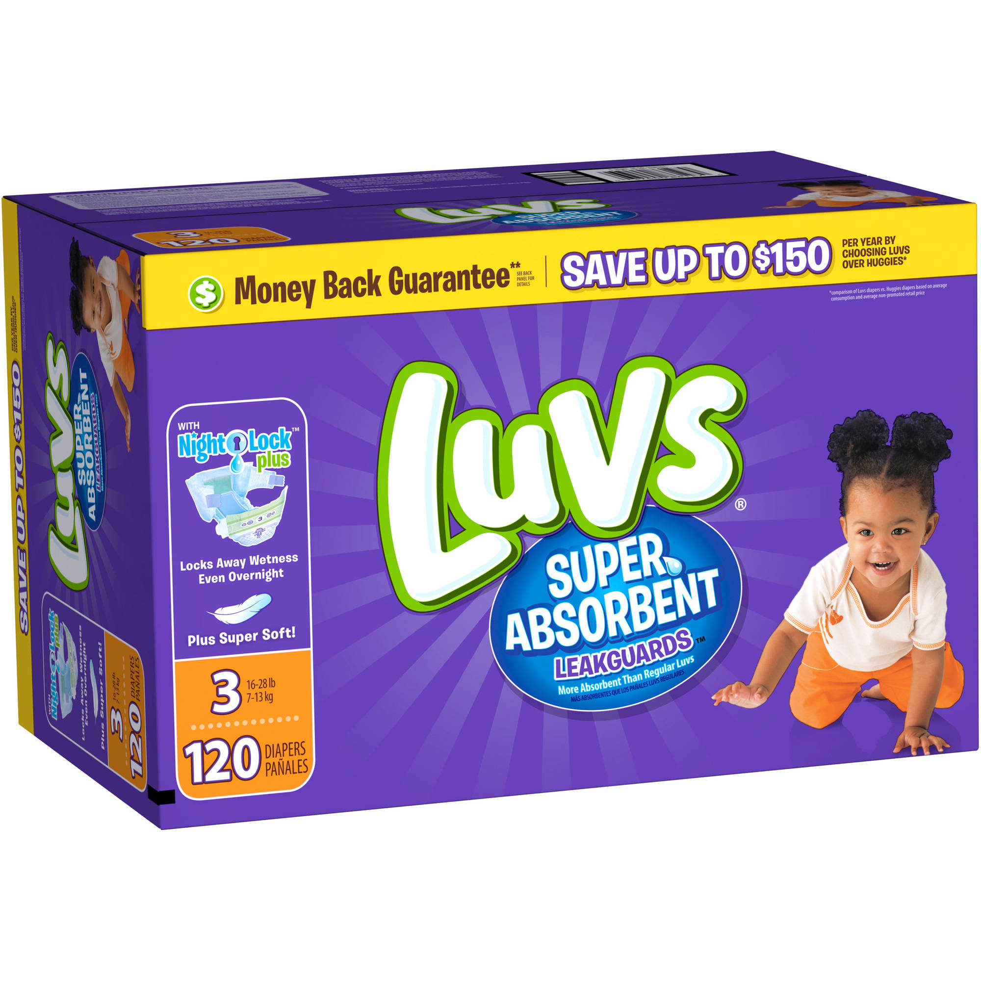 Luvs Super Absorbent Leakguards Diapers, Size Newborn, 40 Diapers ...