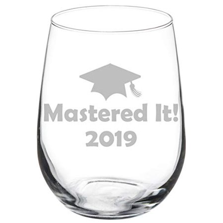 Wine Glass Goblet Funny Class of 2019 Graduation Masters Mastered It (17 oz