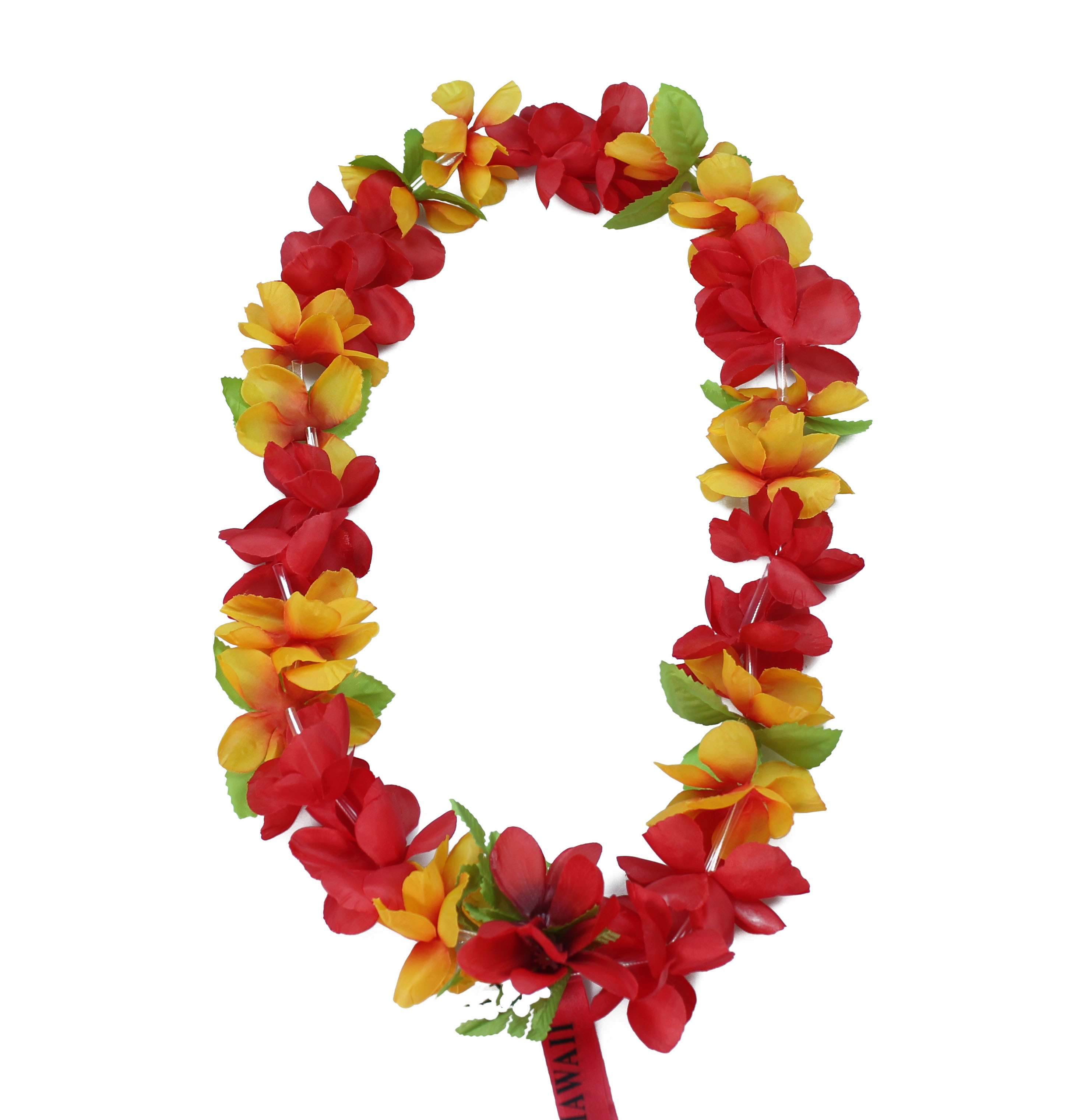 Hawaii Luau Party Artificial Fabric Leilani Carnation Lei Red and Orange