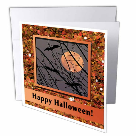 3dRose Bats Flying Around Harvest Moon in Glitter Look Frame, Happy Halloween, Greeting Cards, 6 x 6 inches, set of 12 - Make Flying Bats Halloween