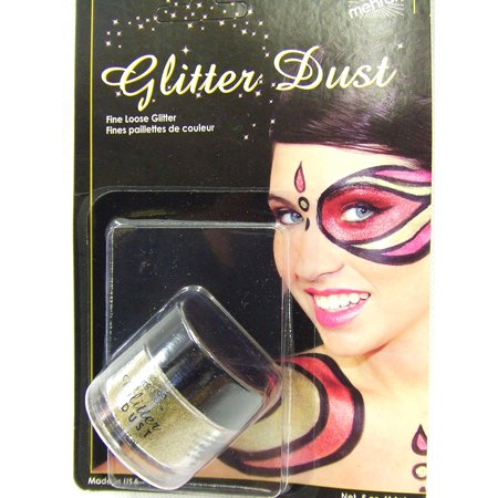 Makeup Glitter Dust Face & Body Paint, GOLD- .25oz, Safe for use on face, skin, beard, wigs and apparel. By Mehron Ship from US