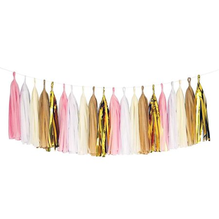 Pink White Beige Gold Tassel Garland Banner Party Decoration Wedding - Custom Wedding Banners