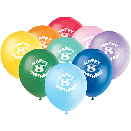 128221 Latex Happy 8th Birthday Balloon 6ct