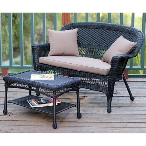 Jeco Wicker Patio Love Seat and Coffee Table Set in Black with Brown Cushion