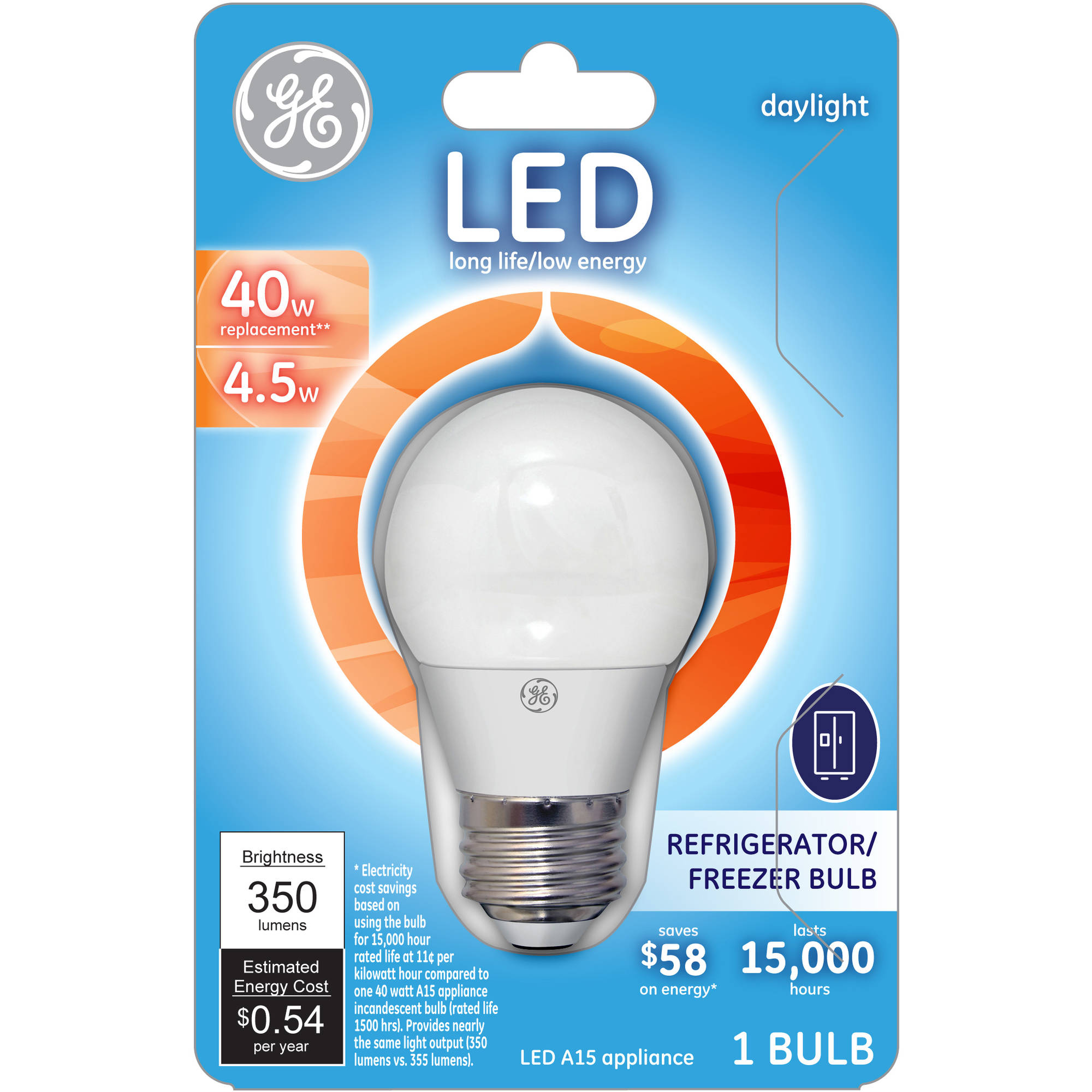 Ge 40w equivalent (uses 4.5w) daylight a15 led appliance bulb bulb 1-pack - Walmart.com  sc 1 st  Walmart & Ge 40w equivalent (uses 4.5w) daylight a15 led appliance bulb bulb ... azcodes.com