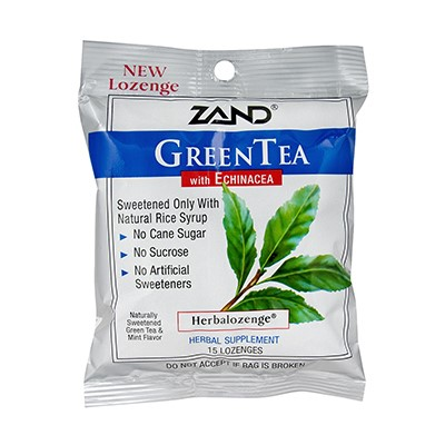 Zand Herbalozenge, Green Tea with Echinacea, 15 Ct