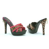 "Penthouse Ph523-Ginger 5"" Heel 1"" Platform Satin Leopard X- Band Mule Sandal"