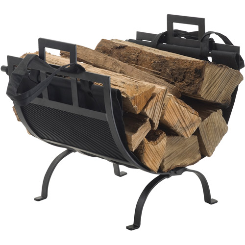 pleasant hearth log holder with canvas tote carrier - Firewood Carrier