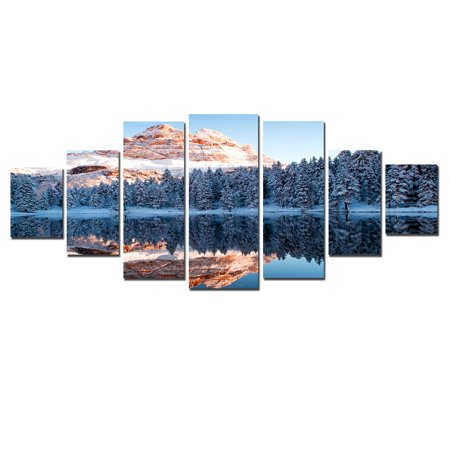 Startonight Huge Canvas Wall Art Ice Mountains Reflecting In The Lake Usa Large Home Decor Dual View Surprise Artwork Modern Framed Wall Art Set Of